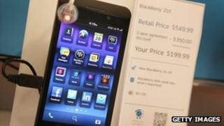 A BlackBerry Z10 on sale at an AT&T store in Chicago, Illinois