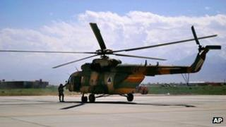 Mi-17 helicopter on the runway at Bagram Air Field, Afghanistan, May 2013