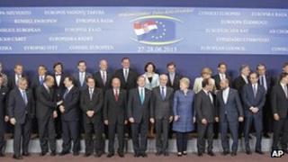 EU leaders in Brussels last month