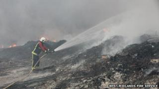 Firefighters at the scene of the fire on Monday afternoon