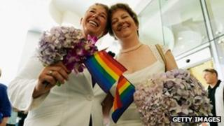 Two women get married in Los Angeles, California 1 July 2013