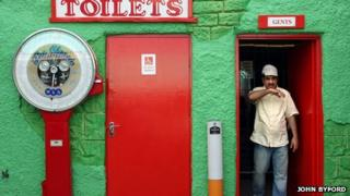 Man coming out of a toilet block in Skegness
