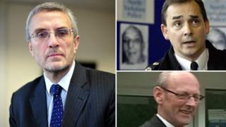 """Essex PCC Nick Alston (l) said payments to former Chief Constable Roger Baker (top right) were outside national guidelines. Robert Chambers (bottom left), who agreed the sums, said the bonus payments were """"within the law""""."""