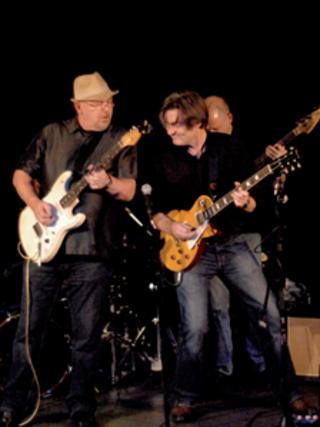 Stevey Hay (left) with band member Neil Warden