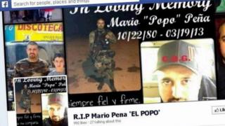 "Screengrab from Facebook of a tribute page to the gangster Mario ""Popo"" Pena"