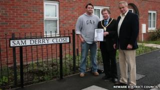 Dan Derry, council chairman councillor Dennis Jones and William Derry