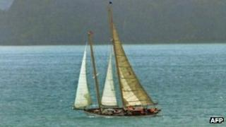 The 21-metre (70-foot) vintage wooden yacht, Nina, built in 1928, sails in a regatta off the New Zealand coast in this file image from January 2012