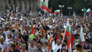 Bulgaria anti-government rally in Sofia, 4 Jul 13