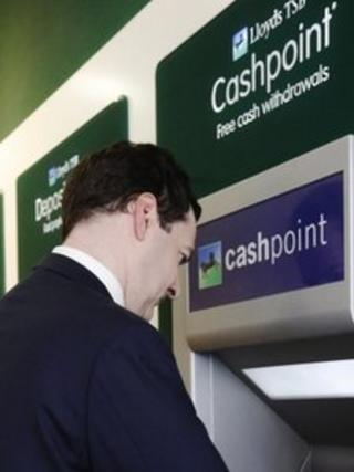 Chancellor at Lloyds cashpoint