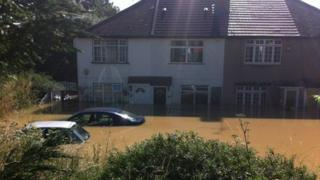 Flooded homes in Greenford