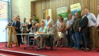 Community groups and church leaders held a news conference in east Belfast