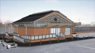 Artists impression of the new station building at Wolverton