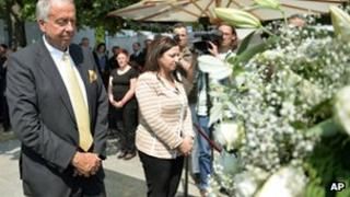 "Germany's State Minister for Culture, Bernd Neumann, at the site of the new memorial in Berlin for the victims of the Nazi ""euthanasia"" programme (8 July 2013)"