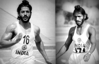 Farhan Akhtar (left) in Bhaag Milkha Bhaag and Milkha Singh (right)