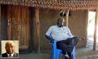 Opposition party chief Afonso Dhlakama outside his hut in April. Inset: President Armando Guebuza