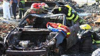 Police photos of aftermath of explosion in the Quebec town of Lac-Megantic