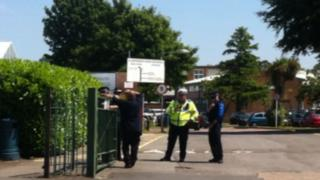 Police at the gates of Llanishen High School