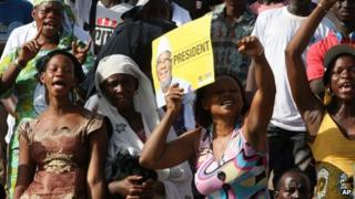 People attend a rally for presidential candidate Ibrahim Boubacar Keita, at the March 26 Stadium in Bamako