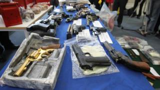Weapons haul on display in Dublin
