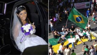 Tainá Ferreira at her wedding and protesters hitting the streets in June