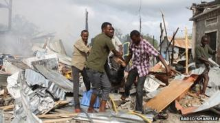 The site of a car bomb in Mogadishu, Somalia, on Friday 12 July 2013