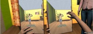 Subjects could see their reflections in a mirror in a virtual world (adult body)
