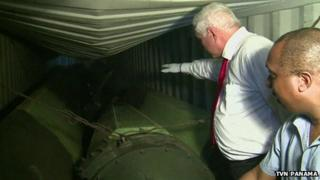 TV image of Panamanian President Ricardo Martinelli inspecting the suspected military cargo (Credit: TVN Panama)