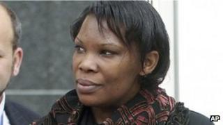 Beatrice Munyenyezi leaves the Federal Court in Concord, NH 12 April 2012