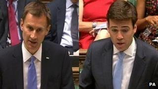 Jeremy Hunt and Andy Burnham in Commons