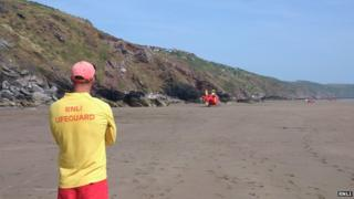 Toddler rescue, Whitsand Bay, July 2013