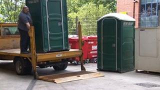Portable toilets at West Point in Leeds