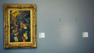 An empty space left by a painting from French artist Henri Matisse that was stolen at the Kunsthal museum in Rotterdam. Photo 16 October 2012