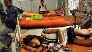 Children poisoned by free mid-day meal at a school in Bihar at hospital in Patna on July 18, 2013