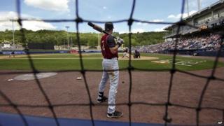 New York Yankees shortstop Derek Jeter playing baseball