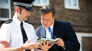 Prime Minister David Cameron visits community police in Hertfordshire