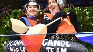 Slimming World Canoe Team float at the Lowestoft Carnival