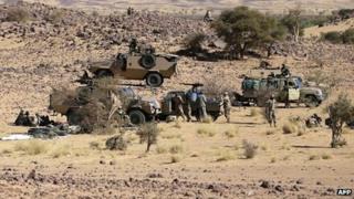 Chadian troops in the desert near Tessalit in March.