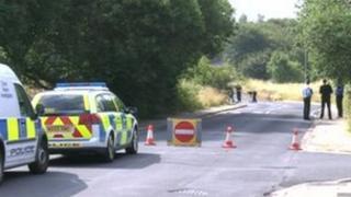 Police investigating at the scene of the crash