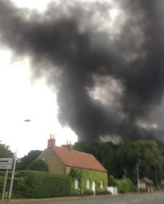Fire in grounds of Normanby Hall