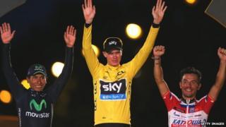 Chris Froome celebrates winning the Tour de France