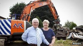 Resident Dennis Green with councillor Betty Hill,