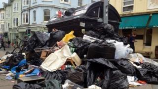 Rubbish on the streets of Brighton