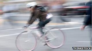 A stock image of a bicyclist