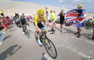 Chris Froome at the summit of Mont Ventoux in the Alps