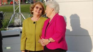 Barbara Clough and Lilian Taylor at the unveiling of a statue to their husbands