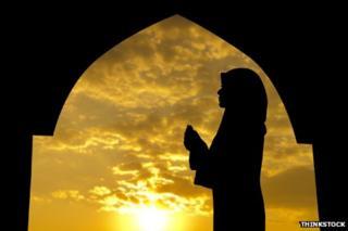 Muslim prays at Ramadan