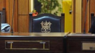 Interior of Castlereagh Borough Council chamber