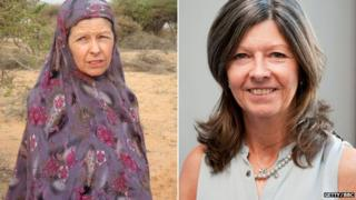 Judith Tebbutt in Somalia on the day of her release in March 2012 (l), and at New Broadcasting House in London in July 2013 (r)