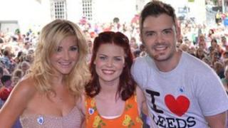Lindsey Russell (centre) with Helen Skelton and Barney Harwood