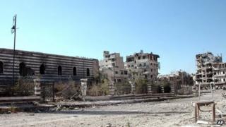 Khalid Ibn al-Walid mosque in the heavily disputed Homs neighbourhood of Khalidiya, 27 July, Syrian state media handout